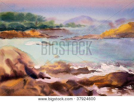 Aquarell seelandschaft
