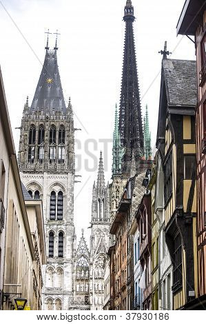 Rouen - Cathedral And Houses