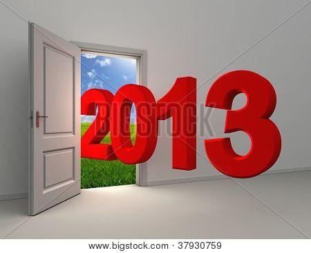 New Year 2013 Enter Open White Door