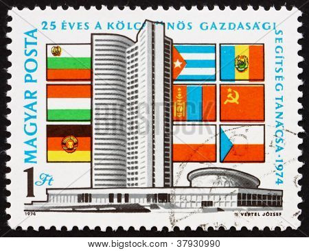 Postage stamp Hungary 1974 Comecon Building,Moscow