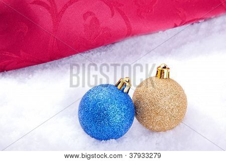 christmas ball decoration with snow