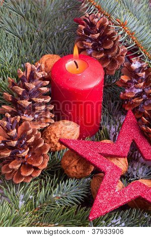 christmas decoration with advent candle