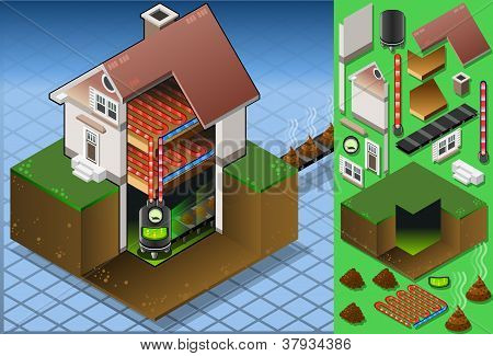 Isometric House With Bio Fuel Boiler