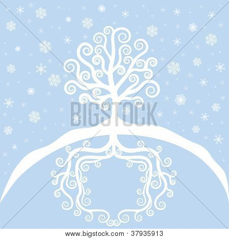 Winter Tree And Snowfall