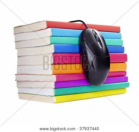 Colorful Books Computer Mouse Control Education School