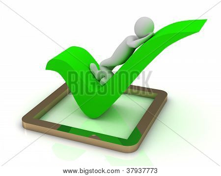 3D Little Human Character Lying In A Check Mark