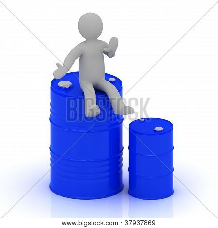 3D Small Man Is Sitting On A Blue Barrel With Oil
