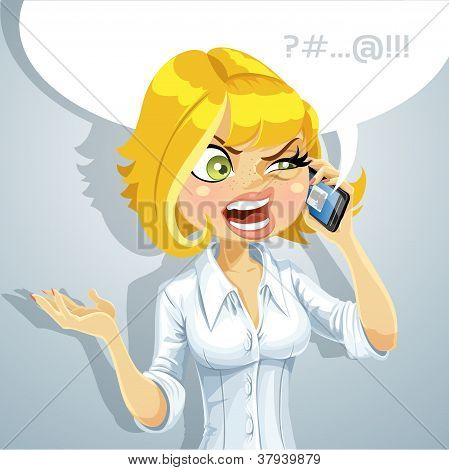 Cute blond girl talking on the phone about something unpleasant