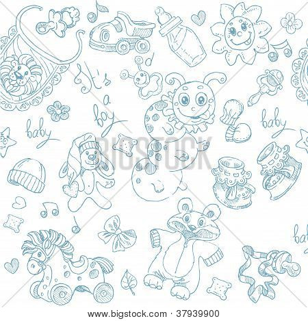 Seamless background its a boy with toys, clothing and accessories doodle