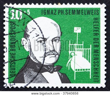 Postage stamp Germany 1956 Ignaz PhilippSemmelweis
