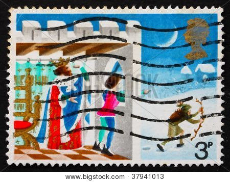 Postage stamp GB 1973 Page looking out of window