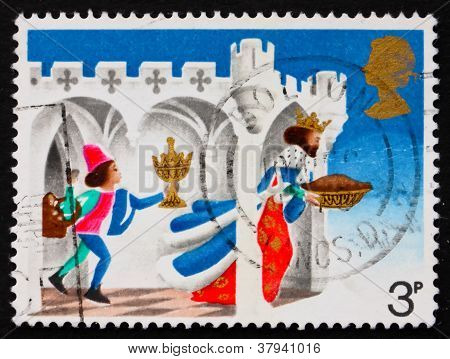 Postage stamp GB 1973 Page bringing gifts