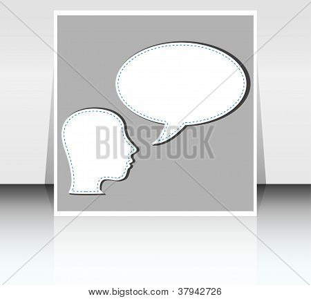 Young Man With A Empty Speech Bubble Over His Head
