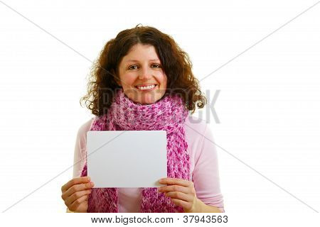 Woman With Empty White Panel