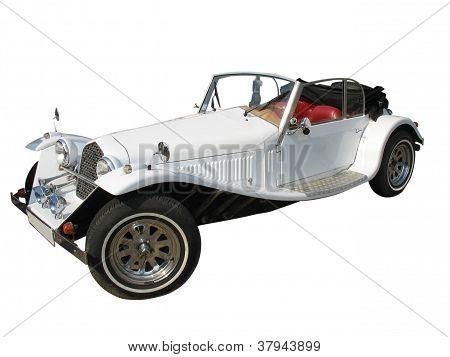 Carro de luxo de casamento retrô Vintage branco sonho isolado