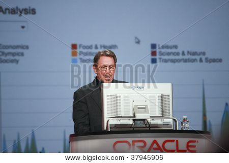 San Francisco, ca, 2. Oktober 2012 ceo der Oracle Larry Ellison macht seine zweite Rede bei Oracle Openw