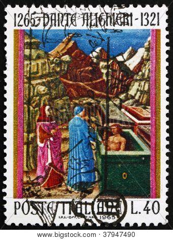 Postage stamp Italy 1965 Dante in Hell, Dante Alighieri,poet