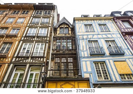 Rouen - Exterior Of Half-timbered Houses