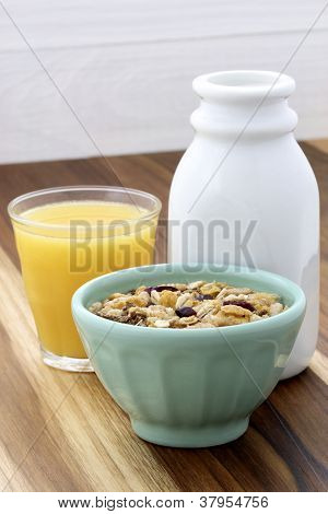 Delicious and healthy muesli with freshmilk