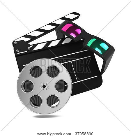 Clapboard with Anaglyph Glasses and Film Reel.