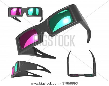 Anaglyph Glasses Over White.