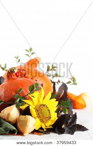 Autumn arrangement with Hokkaido pumpkins and sunflowers
