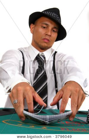 Poker Player Dealing Cards
