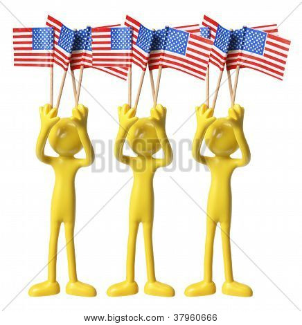 Figures With American Flags