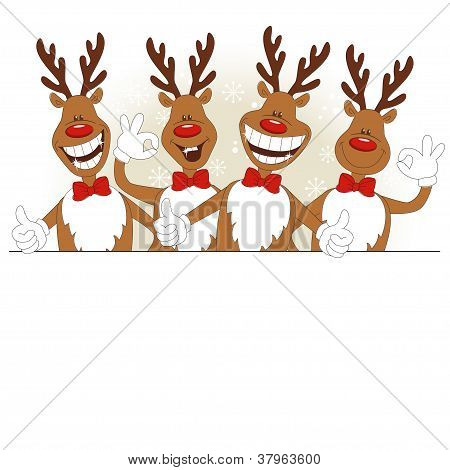 Vector illustration of cartoon Christmas deer