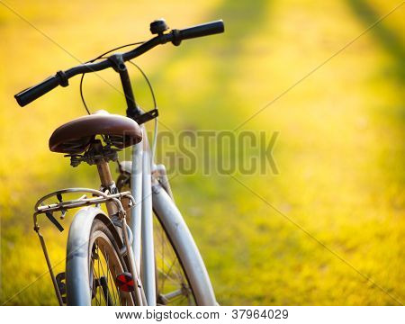 A Bicycle In Meadow During Sunset