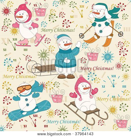 Colorful Christmas pattern seamless