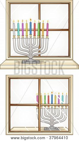 Hanukkiah On A Window