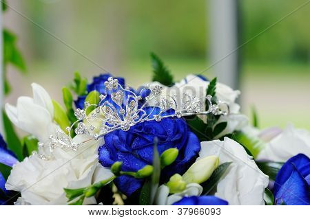 Brides Tiara And Flowers