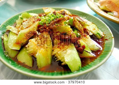Traditional Sichuan food cooked cucumber vegetable