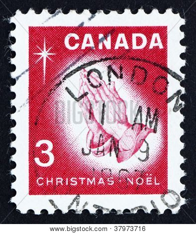CANADA - CIRCA 1966: a stamp printed in the Canada shows Praying Hands, by Albrecht Durer, Christmas, circa 1966