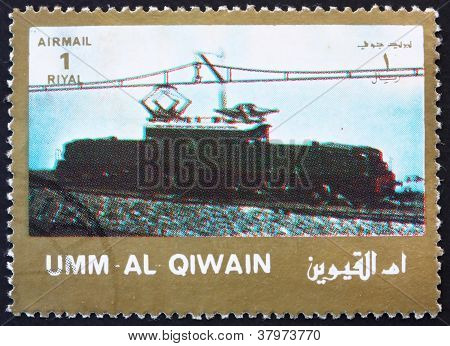 Postage stamp Umm al-Quwain 1972 Electric Locomotive