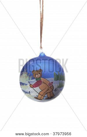 Christmas Ball with bear skiing