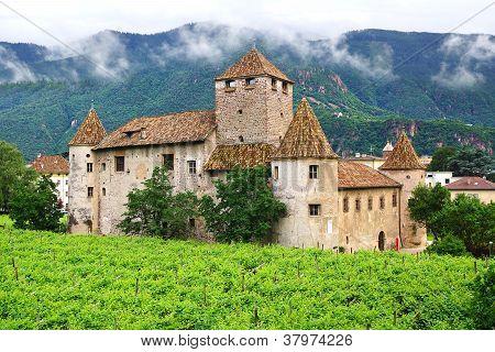 Picturesque landscape with Burg Maretsch in Bolzano.