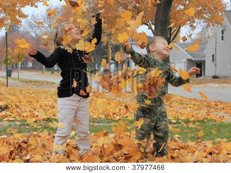 Leaves falling on children