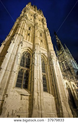 Rouen - The Cathedral At Night