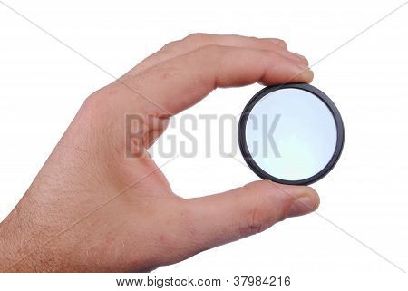 man hand with photographic filter