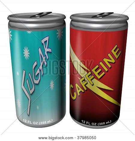 3D Illustration of Sugar and Caffeine Cans