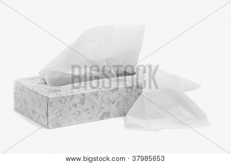 Facial Tissue for Runny Noses, Isolated on a White Background