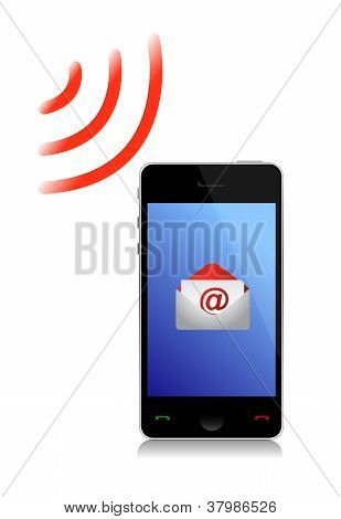Receiving An Email Cel Phone Illustration Design Over White