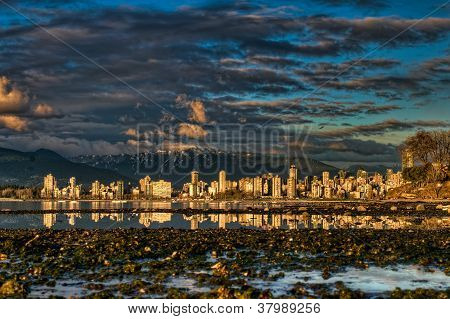 Vancouver City Center Shoreline Reflection