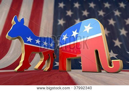Democrat Party and Republican Party Symbols