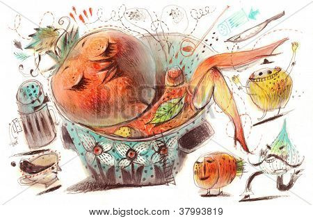 Woman in the pot