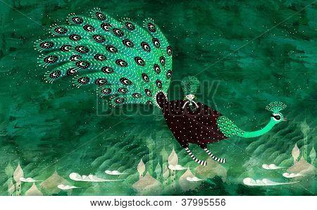magical cartoon peacock