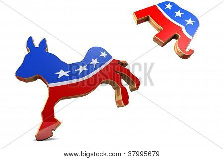 Isolated Democrat Symbol Attackss Republican Symbol