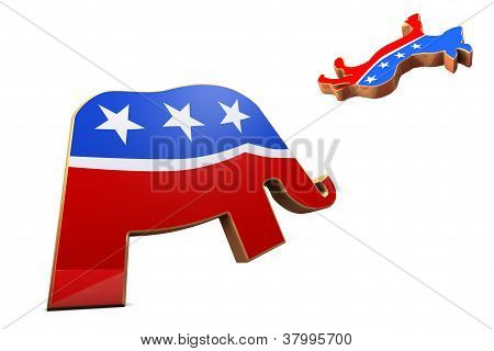 Republican Symbol Attacks Democrat Symbol